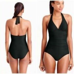 J Crew Ruched Halter One Piece Swimsuit Black NWT